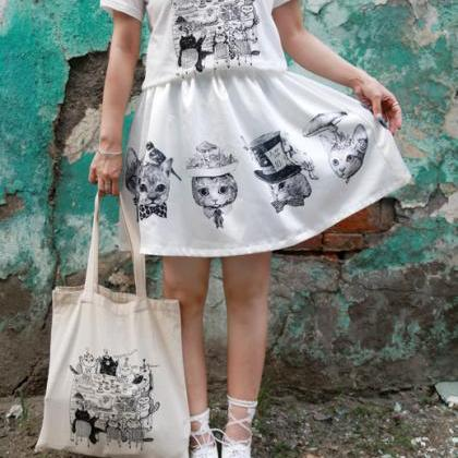 White Cats printed Canvas Bag