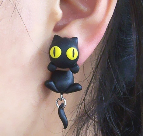 Personalized Black Cat Earrings Grxjy530021